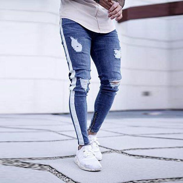 2019 Fashion Mens Hole Skinny Pants Fashion Stretch Ripped Jeans For Male Stripe Denim Pants Plus size Trouses 3XL High Quality