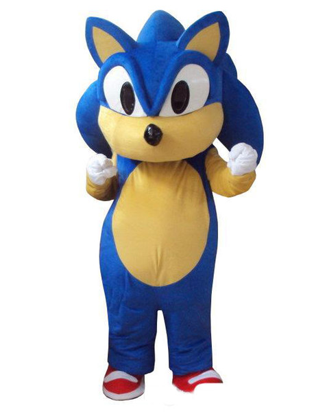 2019 factory hot Professional Sonic Hedgehog Mascot Costume Fancy Dress for Adult animal blue Halloween party event
