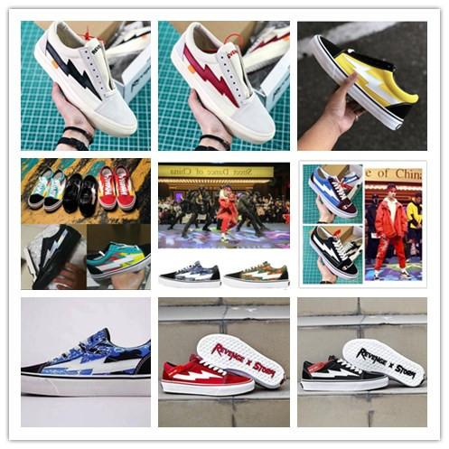 New Revenge X Storm Old Skool Designer Cavnas Sneakers Womens Men Low Cut Skateboard Red Yellow White Black Casual Running Shoes Size:36-44