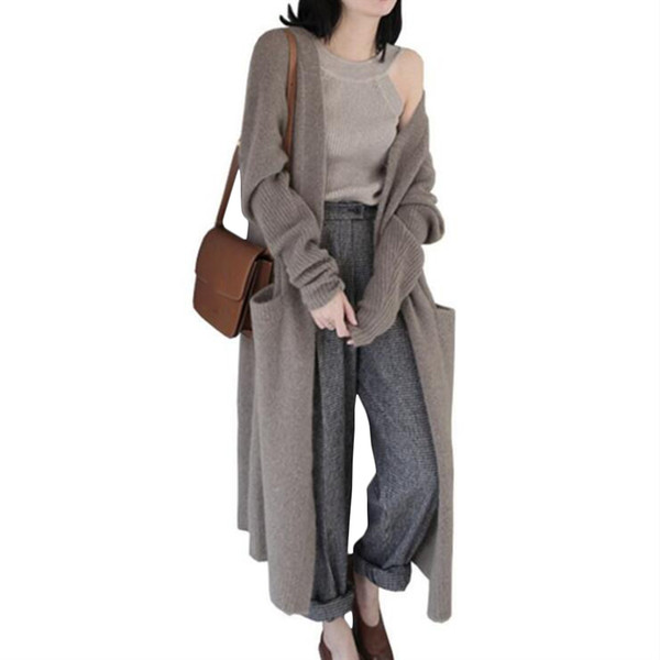 Plus Size Womens Long Cardigans High Quality Warm 2018 Fall Winter New Chic Knitted Loose Cardigan Sweater Outwear Coat Jacket
