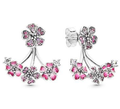2019 peach blossom collection pink Studs Earrings 100% 925 sterling silver stud earrings fits for pandora charms jewelry wholesale