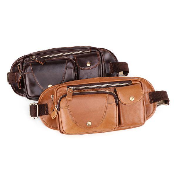 Fanny Waist Bag For Men Genuine Sling Chest Waist Packs Leather Shoulder Belt Bag Male Pack Travelling Phone Pouch Bum