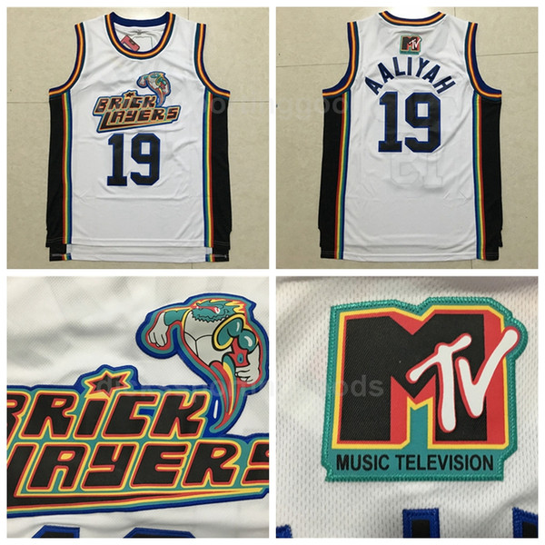 2281390ab2b NCAA College 19 Aaliyah Bricklayers Jersey Men 1996 MTV Rock N Jock  Basketball Jerseys Aaliyah Uniform