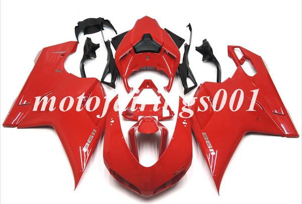 Yeni ABS kaporta Kitleri DUCATI 848 EVO 1098 1198 1098 s 1198 s için fit 2007-2012 07 08 09 10 11 12 enjeksiyon kalıp kaporta Özel Ücretsiz Kırmızı Parlak