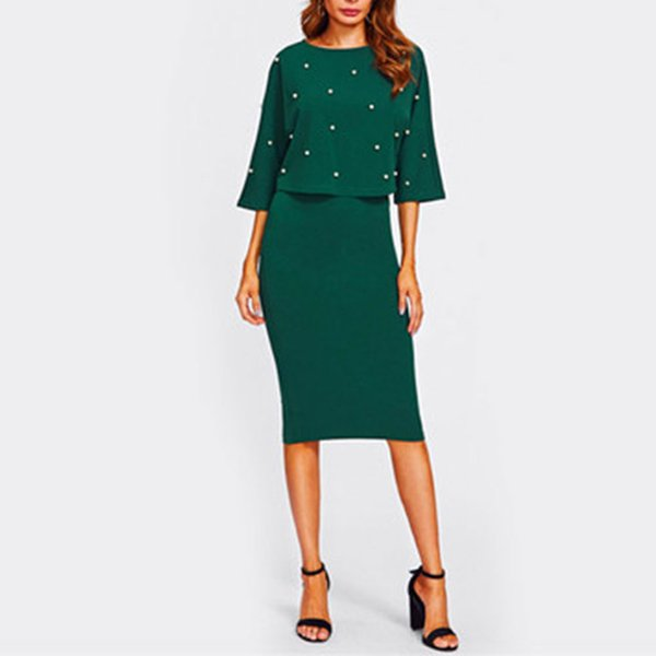 2pcs/set Women Half Sleeve Ladies Crew Neck Autumn Knee Length Pearl Embellished Sheath Dress Elegant