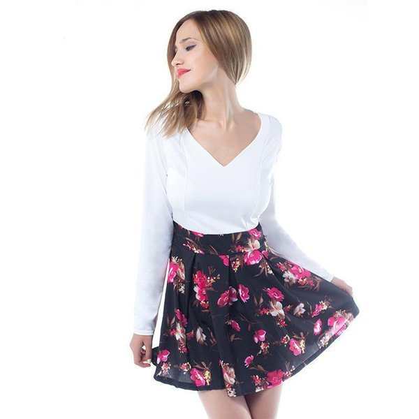 024ecc4c5 Nice Summer Dresses Floral Casual Stylish Elegant Print Charming Women V  Neck Sleeveless Zipper Work Office Expansion Dress Long And Short Dress ...