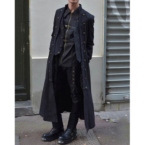 Men's Medieval Solid Color Long-sleeved Coat Button Men's Swallowtail Jacket Retro Long Cross-strap Top Halloween Cos Clothes