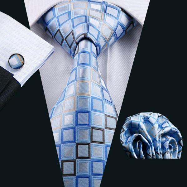 LS-1128 Hot Selling Mens Tie Blue Novedad 100% Seda Moda Corbata Hanky Gemelos Set Para Hombres Formal Boda Novio