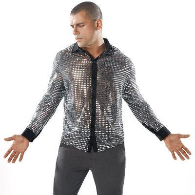 Nouveau Mode Hommes T-shirts À Manches Longues Turn-down Colllar Dot Balances Shining Nightclub Revers Casual Fitness Shirts