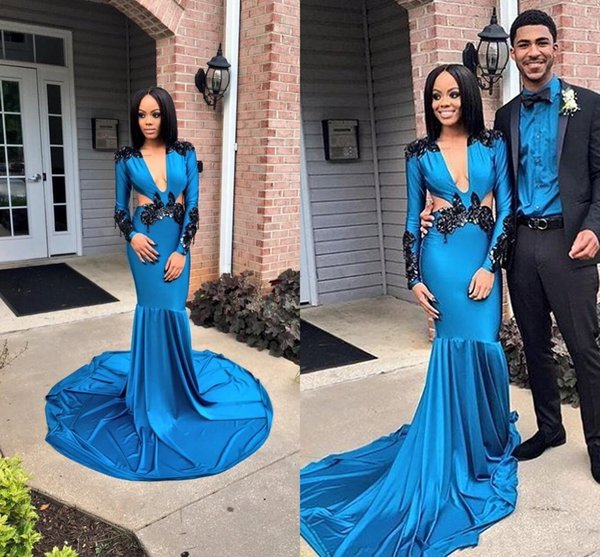 Sexy African Blue Mermaid Evening Dresses Cut Away New 2019 Long Sleeves Deep V neck Black Lace Applique Sexy Girls Prom Dress Cheap