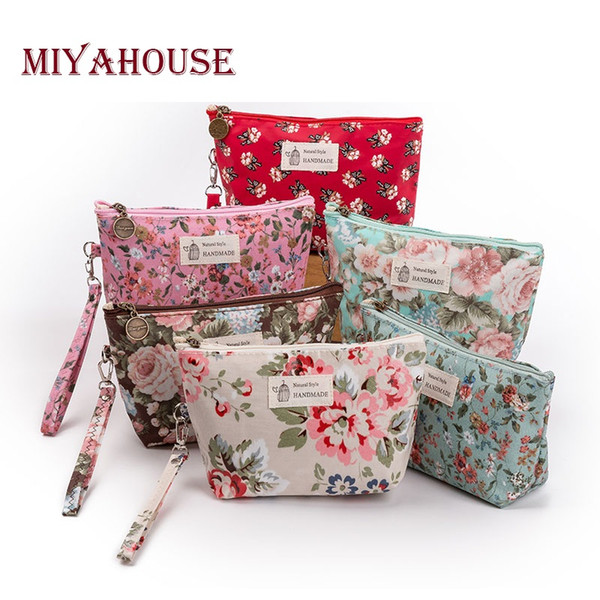 Miyahouse New Vintage Floral stampato Sacchetto cosmetico Donna Makeup Bags Donna Zipper Cosmetics Bag Viaggio portatile Make Up Pouch