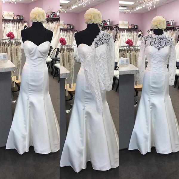 Cheap White Ivory Lace Bridal Jackets Boleros Long Sleeve Wedding Bride Wraps Shrugs Coats For Wedding Dresses