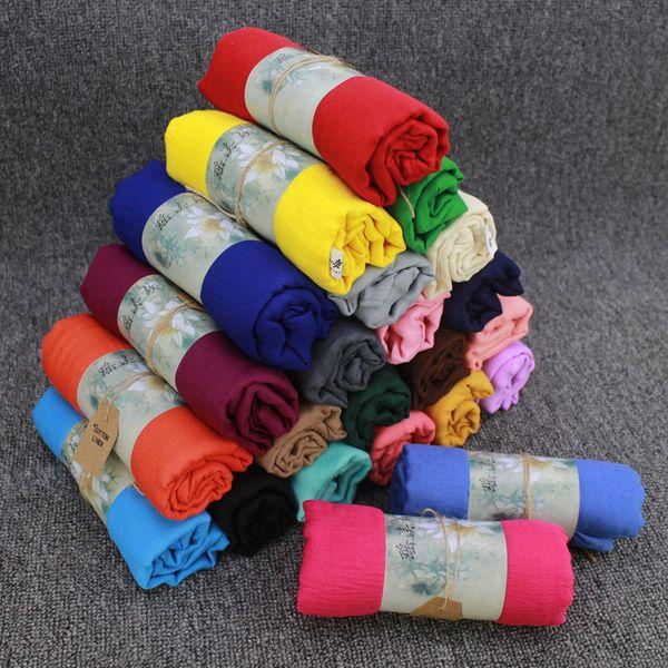 Hot Sale Women's Cotton Linen Scarfs 180*50cm Ladies Monochrome Scarves Spring and Autumn Solid Color Classic Shawls Silk Scarf