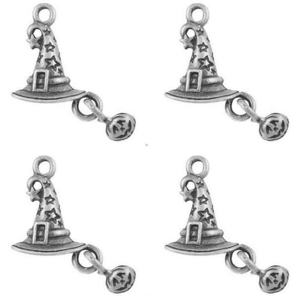 College Magic Hat with Pumpkin Charms Pendant Vintage Silver Alloy Gothic Witch Pendant For Making Jewelry Halloween Gift Crafts NEW