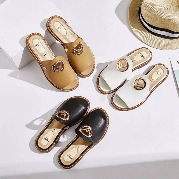 New high-end brand summer ladies slippers high quality leather flat bottom women's sandals casual shoes 35-40 yards free shipping wear