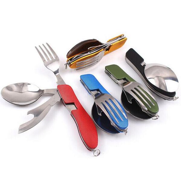 3 en 1 Cuchara Plegable Tenedor Cuchillo Servicio de Cena Al Aire Libre Picnic Cubiertos de Cocina de Acero Inoxidable Cubiertos LX7212