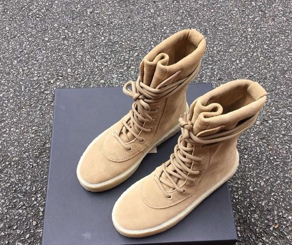New Superstar Designer Kanye West sapatos Militares Crepe Botas Preto Brown Tactical Plano Bota Lace Up Autumn tornozelo Sapatinho R130