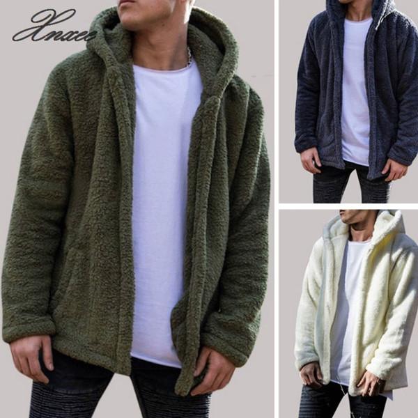 Men's Winter Slim Casual Warm Hooded Coat Men Jacket Fleece Outwear