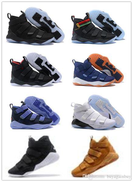 2018 nouvelles chaussures de basketball James Soldier XI 11 bleu marine hommes / dames LeBron Soldier XI 11 baskets noir / rouge / blanc