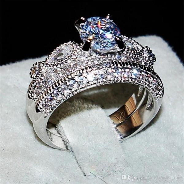 Pay4U Marka silod 925 Ayar gümüş Nişan Düğün Gelin yüzük Takı 2-in-1 Lüks 2ct Yuvarlak kesim Elmas YÜZÜK set Boyutu 5-10