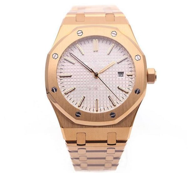 2019 Royal Oak Offshore Mens Watch White Dial Transparent Back Original Clasp Automatic Mechanical Men Watches Rose Gold Stainless Steel
