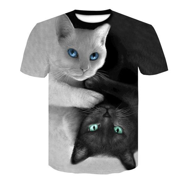 Men's T-shirts 2019 New Arrival Mens Fashion Casual 3D Couple Cat Tops Digital Print Short Sleeve T-Shirt Plus Size S-4XL