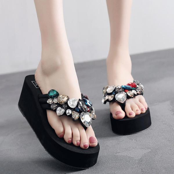Kadınlar Bayanlar Kızlar Katı Takozlar Kristal Çevirme Sandalet Terlik Plaj Ayakkabıları Flip Flop Zapatos De Mujer Terlik Klapki