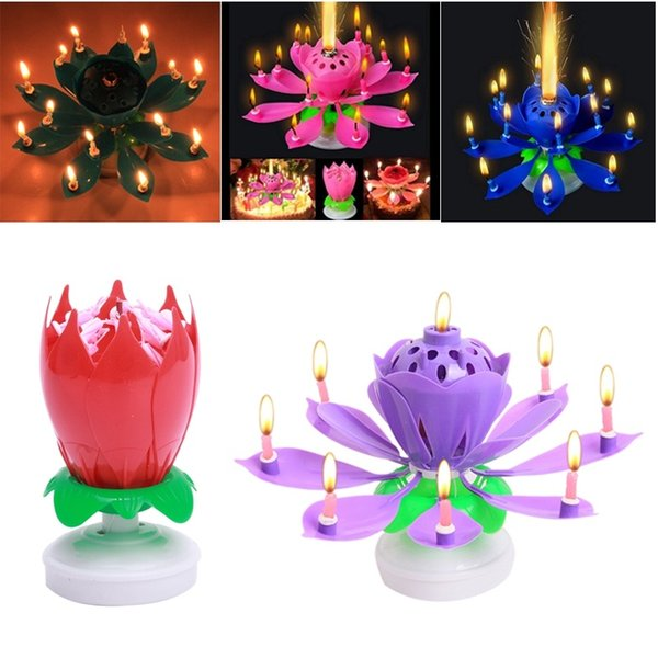 New Art Rotate Musical Candle Lotus Flower Happy Birthday Party Gift Rotating Lights Decoration 8/14 Candles Lamp