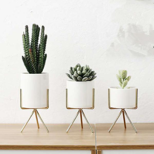 Großhandel Tischvase Mit Eisenhalter Keramik Kunst Vasen Einfache Rahmen  Keramik Kaffee Haus Zimmer Garten Blumentopf Dekoration Von ...