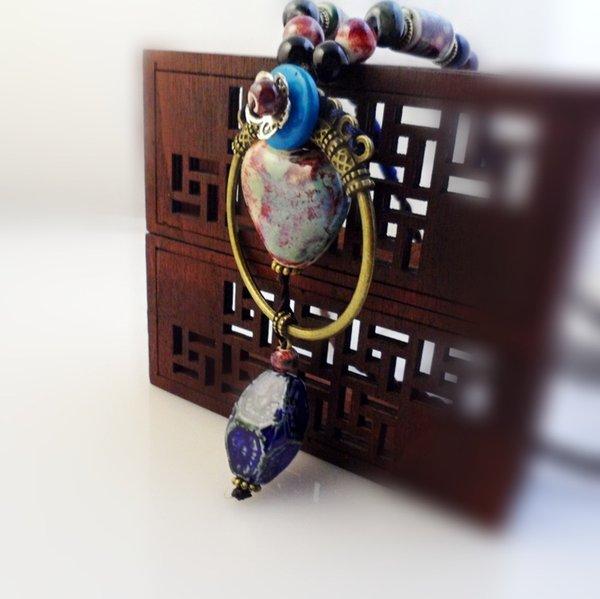 Ajustable vintage encantadora mujer suéter cadena estilo étnico cerámica original colgante círculo otoño largo collar tejido a mano