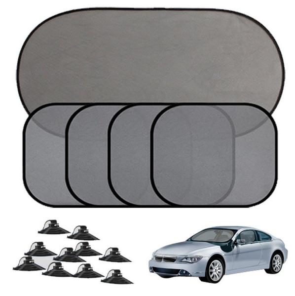 5Pc/Set Black Auto Car Sun Shade Visor Side Window Suction Cup Car Curtain Auto Car Styling Covers Sunshade