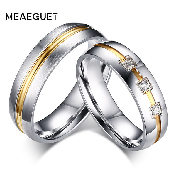 ring stainless Meaeguet Silver Color Classic Lover's CZ Stone Engagement Rings Stainless Steel Couple Anel Wedding Bands Lover Women Jewelry