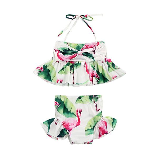 Kleinkind scherzt Baby-Flamingo-Rüschen-Verband-Tankini-Badebekleidungs-Badeanzug-Bikini-Badeanzug-Strand-Ausstattung 1-6years geben Schiff frei