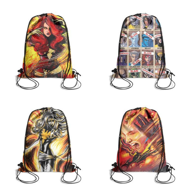 Jean Grey x men Dark Phoenix Rising Cartoon Printing Unicorn Drawstring Bags non-woven pony Backpack students Shoulder storage pouch for