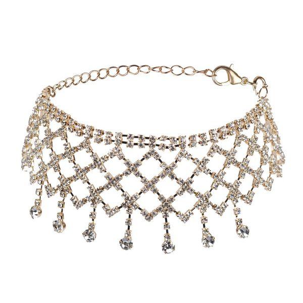 Collana di donne maglia geometrica alla moda collana di collane di strass pieni discoteca collo super flash in oro e argento gioielli di moda donna