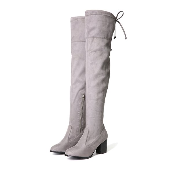 NIS Women Thigh High Boots, Black/Gray Flock Short Plush Winter Warm Boots, Ladies Lace Over The Knee 7cm High Heels Zip Shoes