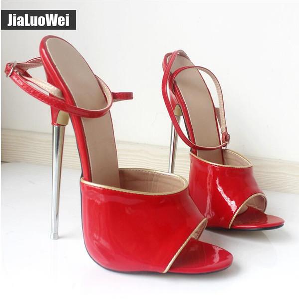 2019 New Women Sandals 18CM High Sexy Fetish Metal Spike Heel Peep Toe Ankle Straps Ladies Dress Shoe Man performace Summer heels Red