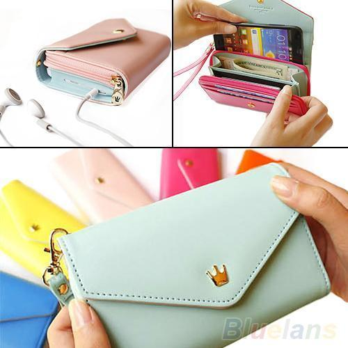 Wholesale- 2012 New Womens Multifunctional Envelope Wallet Coin Purse Phone Case For IPhone 5/5S Galaxy S2/S2 02NO 5OGL
