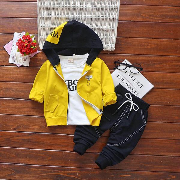 good quality boys fashion clothes set spring autumn children clothing 3pcs hooded jacket+t shirt+pants kids boys tracksuit set