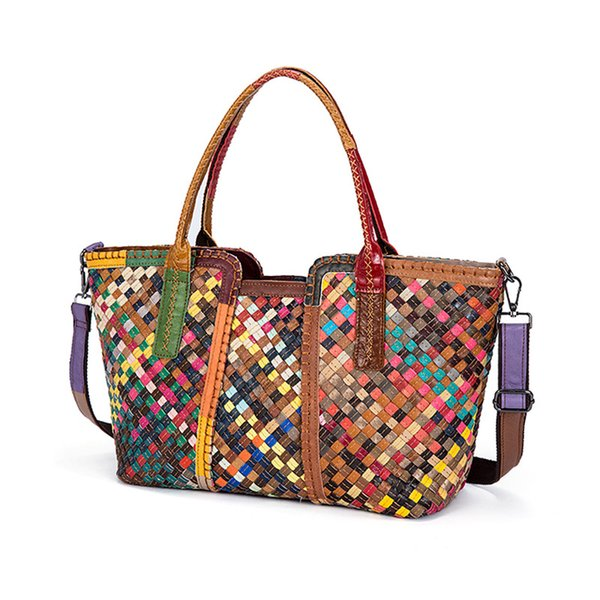 2019 New Fashion Multicolour Knitting Genuine Cow Leather Women Handbag Ladies Lether Shoulder Bags Casual Large Capacity Tote