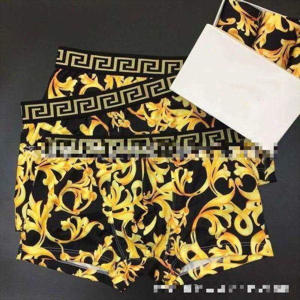 Uomo quattro angoli fan biancheria intima marea gialla rattan stampa digitale ghiaccio boxer di seta slip abbigliamento delle famiglie