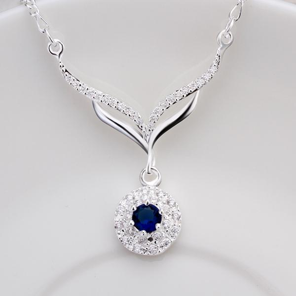 new arrived 925 sterling silver jewelry leafage link round blue stone crystal pendant necklace for women girls promotion