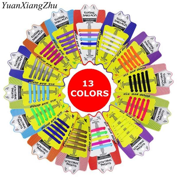 10 teile / los Neue Kinder Elastische Silikon Schnürsenkel Keine Krawatte Schnürsenkel Kinderschnürung Silikagel Schnürsenkel Praktische Faule Schnürsenkel