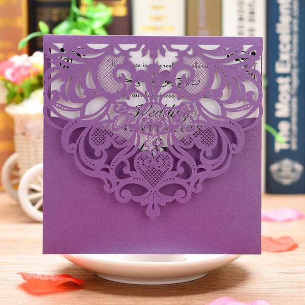 Nouveau 20Pcs Purple Pearl Paper Invitation Cards Laser Cut Cartes d'invitation de mariage Kits de cartes de voeux avec feuille intérieure vierge