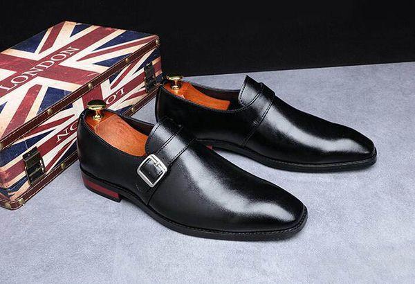 Британский Новый дизайнер мужской пряжкой в стиле платье без бретелек Ботинки мужские Wedding Homecoming Пром Формальные Вечерние туфли для мужчин