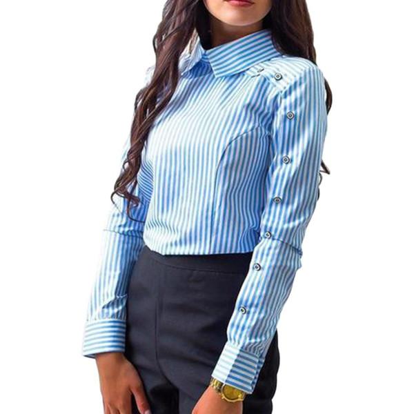 Womens Striped Fashion Long Sleeve Button Blouse Turn Down Collar Shirt OL Tops