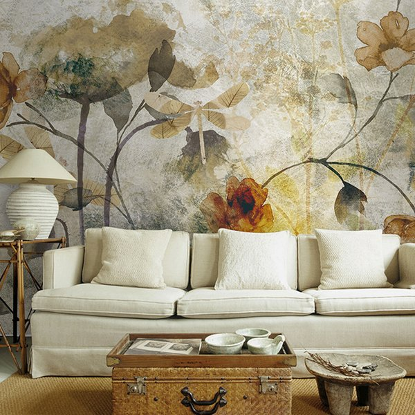 Vintage 3D Wall Murals Wallpaper Flower Mural Living Room Wallpaper Colorful rose Oil Painting Elegant and quiet sticker mural