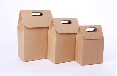 Portable Brown Kraft Paper Bags Takeout Food Snacks Packaging Bags Tea Gift Bags Free shipping lin4498