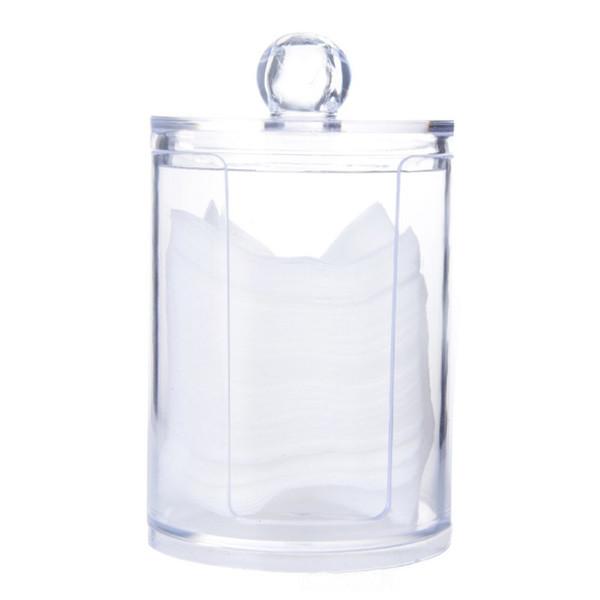 Round Cotton Pad Storage Box Clear Acrylic  Organizer Cotton Pads Holder  Tool Kit Hot!