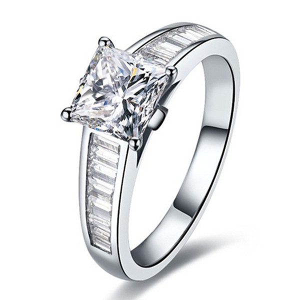 2CT Sterling Silver Jewelry Marriage Ring for Women NSCD Princess Diamond Ring Engagement Jewelry 18K White Gold Plated Princess Jewelry 925